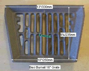 Baxi Burnall 16in Bottomgrate pr BG020