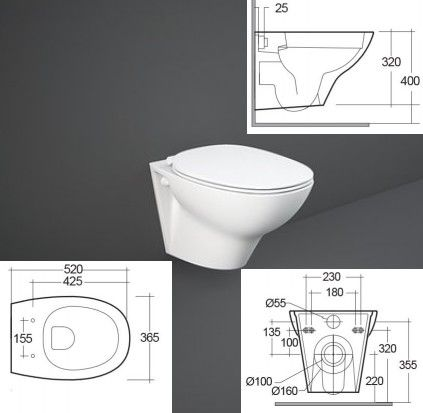 Royal Salman M Series Wall Hung Pan - 180mm and 230mm Centres Bespoke Part